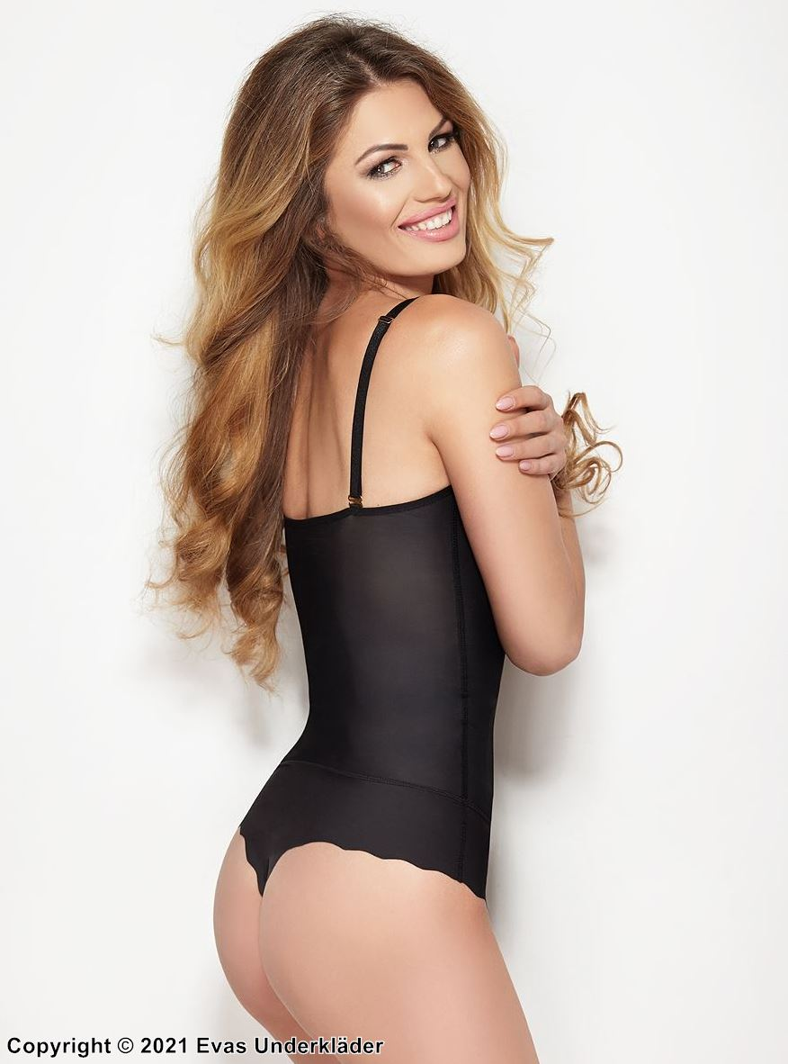 Shapewear string body, without cups, belly, waist and hips control
